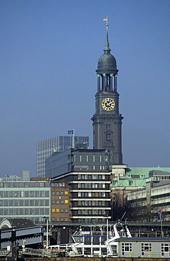 Tower of St Michaelis church and office buildings at Hamburg Harbour Germany