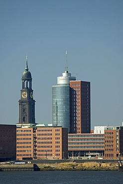 Towers of St Michaelis church and Hanseatic Trade Center HTC at Hamburg Hafencity, Germany, Europe