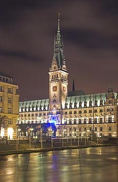 Hamburg city hall at night, Hamburg, Germany
