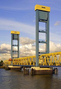 Kattwyk Bridge at river Suederelbe in Hamburg, Germany
