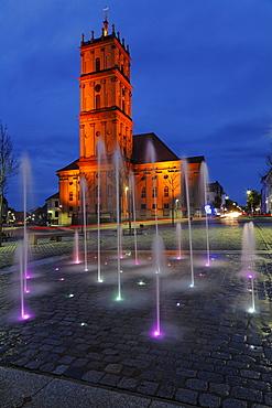 Fountain in front of Stadtkirche (church) Neustrelitz, Mecklenburg-Western Pomerania, Germany