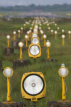 Aircraft landing lights at the airport Cologne, Wahner Heide, Herfeld, North Rhine-Westphalia, Germany