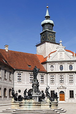 Fountain in the courtyard of the Residenz, Munich Residence, Munich, Bavaria, Germany