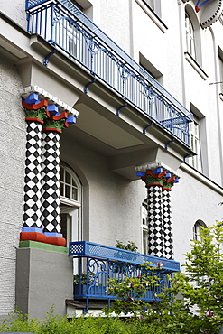 Balcony of an Art Nouveau apartment house in Franz-Joseph-Strasse Street 23, Schwabing, Munich, Upper Bavaria, Germany, Europe