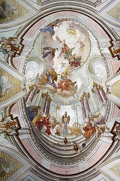 Ceiling fresco in the St. Peter und Paul Parish Church in Stoetten am Auerberg, interior view, Allgaeu, Swabia, Bavaria, Germany, Europe