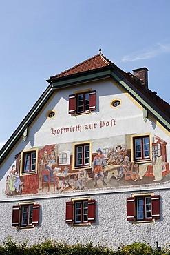 "Lueftl painting on the ""Hofwirth zur Post"" pub in Marquartstein, Chiemgau, Upper Bavaria, Germany, Europe"