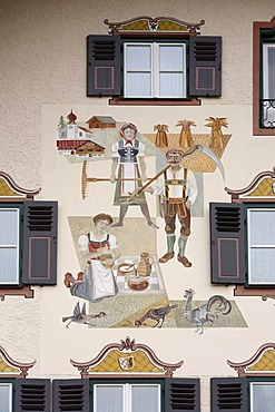 Painted house facade in Ruhpolding, Chiemgau, Upper Bavaria, Germany, Europe