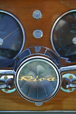 Cockpit, guages and logo, Italian-made Riva Motorboat