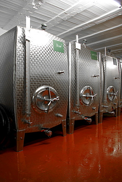 "Steel tanks for storing the ""liqueur d'expedition"" giving champagne its particular flavour, Kessler sparkling winery, Esslingen, Baden-Wuerttemberg, Germany, Europe"