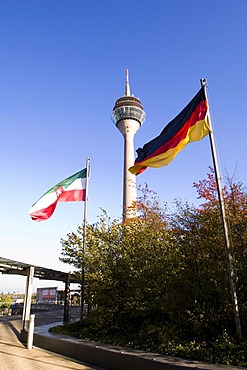 Telecommunications-tower with flags, Duesseldorf, North Rhine- Westphalia, Germany