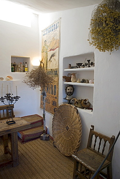 Sitting room to entertain guests in the summer house of surrealist painter Salvador Dali and his wife Gala in Port Lligat, Girona Province, Spain