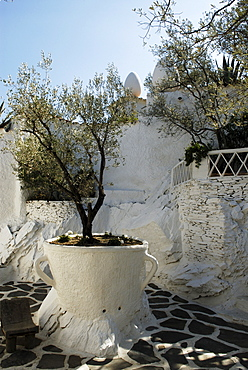 Patio of the Cups, garden at the home of surrealist painter Salvador Dali and his wife Gala in Port Lligat, Girona Province, Spain