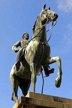 Sigmaringen - equestrian statue from prince leopold from hohenzollern - Baden-Wuerttemberg, Germany, Europe.