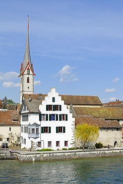 Historic part of town on the bank of the Rhine River, Stein am Rhein, Canton of Schaffhausen, Switzerland, Europe
