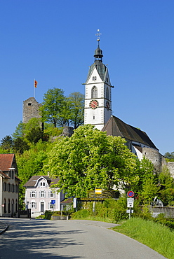 Town Church and castle ruins, Laufenburg, Canton of Aargau, Switzerland, Europe