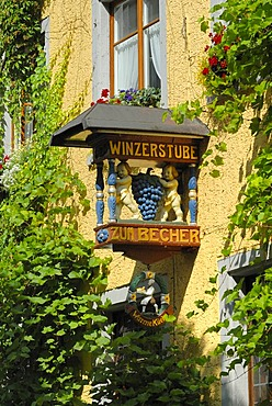 Sign of a wine tavern, Meersburg, Bodensee district, Baden-Wuerttemberg, Germany, Europe