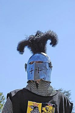 Knight in mediaeval medieval costume, knight festival Kaltenberger Ritterspiele, Kaltenberg, Upper Bavaria, Germany