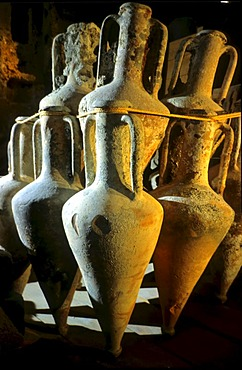2300-year-old amphoras found in a ship, museum, Cyprus.