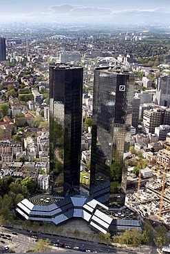 The twin towers of the Deutsche Bank, Frankfurt, Hesse, Germany