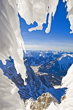 Mountain landscape, icy temperatures on Mt. Zugspitze, Alps, Germany, Europe