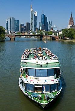 Tourist ship on the Main River, skyline of Frankfurt, Hesse, Germany, Europe