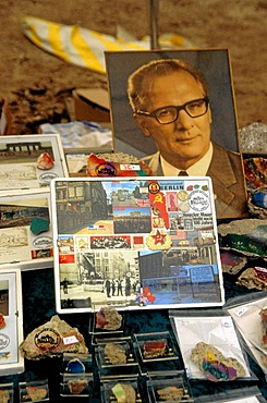 Flea market with DDR utensils, e.g. the portrait Erich Honecker