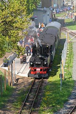 Narrow-gauge railroad Wilder Roland in Oschatz, Saxony, Germany
