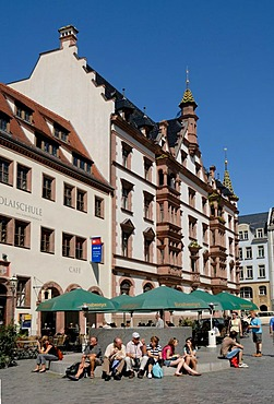 Nikolaik Church Square, with Old Nikolai School and Ritter Street, Leipzig, Saxony, Germany
