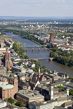City, Paulskirche and Main, Frankfurt, Hesse, Germany
