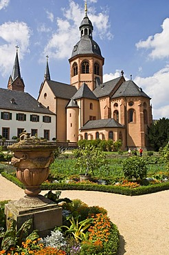 Former Benedictine abbey with Basilica and convent garden, Seligenstadt, Hesse, Germany
