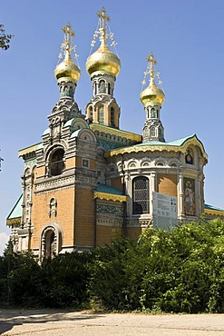Mathildenhoehe, Russian orthodox church of Mary Magdalene, Darmstadt, Hesse, Germany