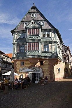 """The Tavern """"Zum Riesen"""", oldest tavern in Germany, Old part of town, timbered houses, Miltenberg, Bavaria, Germany"""