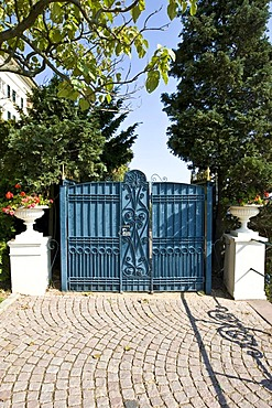 Side gate of Johannisberg Castle, winery, Rheingau (Rhine District), Hesse, Germany
