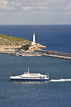 Car ferry coming into the harbour of Eivissa, Ibiza, Baleares, Spain