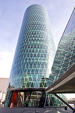 Westhafen Tower, designed by Schneider and Schumacher architectural firm, winner of the 2004 German urban architectural prize, Frankfurt, Hesse, Germany, Europe