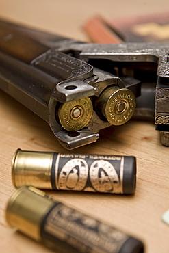 Hunting weapon, shotgun, long gun with engraving, shooting license and gun ownership license
