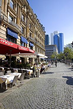 Restaurants in the sun on Opernplatz Square, Frankfurt, Hesse, Germany, Europe