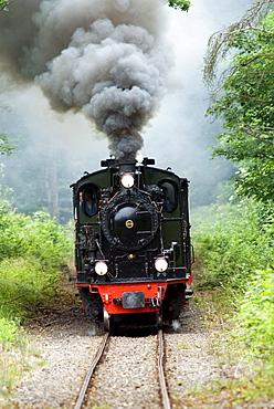 Vulkanexpress, Volcano Express, steam locomotive in Brohltal, Rhineland-Palatinate, Germany, Europe