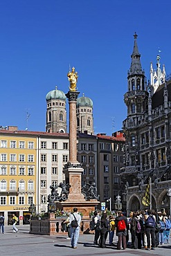 The Columna of St Mary and Church of Our Lady Marienplatz Munchen Munich Bavaria Germany