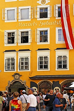 Mozart`s Birthplace in Getreidegasse No 9, Salzburg, Austria