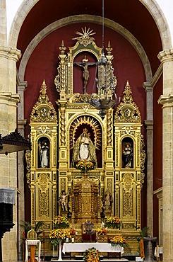 Altar in San Sebastian church, Agueimes, Aguimes, Gran Canaria, Spain