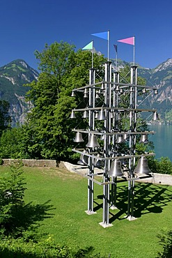 "Installation of chimes at the Tellskapelle (Tell's chapel) around the ""Weg der Schweiz"" hiking path at Lake Lucerne."