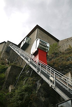 Modern meets history: The inclined elevator of the castle of Bard, hosting the ultra modern and recently opened museo delle Alpi, Aosta valley, Italy