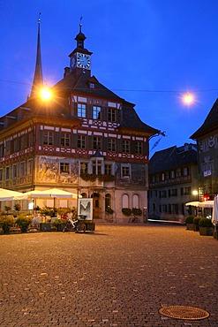 Town hall square in the historic old center of Stein am Rhein, Schaffhausen, Switzerland