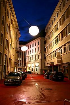 """Revitalization of the derelict St. Gall downtown area """"Bleicheli"""": Architect Carlos Martinez and artist Pipilotti Rist have created a """"saloon"""", complete with red carpet and big lamps, St. Gall, Switzerland"""