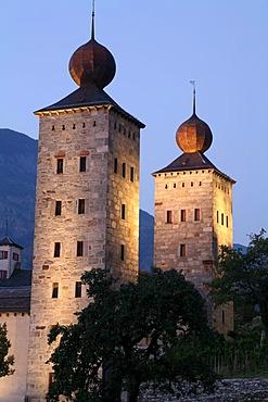 Stockalper castle at dusk in Brig, Valais, Switzerland