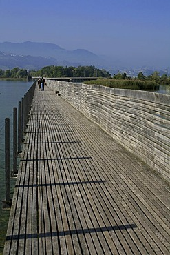 Pilgrim's Way of St. James: New wooden footbridge from Rapperswil to Hurden, St. Gall, Switzerland