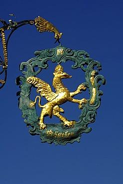 Inn sign GREIFEN (griffon) in Dinkelsbuehl, Central Franconia, Bavaria, Germany