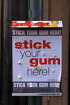 Chewing-gum sign, Atherstone, England, UK, Europe