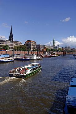 Tourist boat, tour of Hamburg's harbour, Hamburg, Germany, Europe